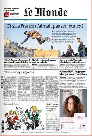 Pub Racha Arodaky Bach Le Monde Premiere page 1